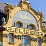 Particolare della facciata del Grand Hotel Evropa di Praga / Particular of the façade of Grand Hotel Evropa in Prague