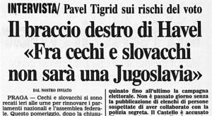Dal Corriere della Sera, poco prima della divisione della Cecoslovacchia / From the Corriere della Sera, right before the dissolution of Czechoslovakia