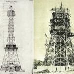 Il progetto della Torre di Petřín e un momento della realizzazione / The design of Petřín Tower and a photo taken during its construction