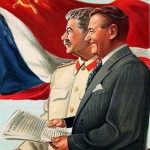 Stalin e Gottwald in una stampa del secondo dopoguerra / Stalin and Gottwald in an illustration after World War II
