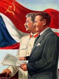 Stalin e Gottwald in una stampa del secondo dopoguerra / Stalin and Gottwald in an illustration after World War II