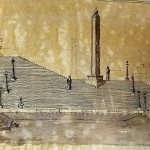 Schizzo prospettico della scalinata dei Giardini del Paradiso con una delle prime versioni dell'obelisco, 1920 / Perspective sketch of the steps of the Paradise Gardens with one of the first versions of the obelisk, 1920 © ARCHIVIO CASTELLO DI PRAGA