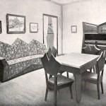Una vetrina e la sala da pranzo presentata da Josef Gočár a un'esposizione del Gruppo Mánes nel 1912 / A glass cabinet and the dining room created by Josef Gočár for an exhibition held by Mánes Group in 1912