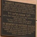 Targa alla memoria di Antonín Kalina a Třebíč / Commemorative plate for Antonín Kalina in Třebíč