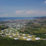 20935651 - trieste's oil terminal and a view of the city