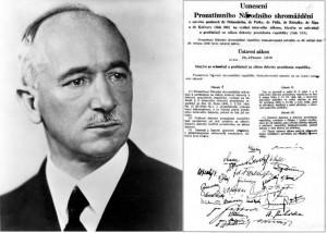 Il presidente Edvard Beneš e il documento con cui i Decreti Beneš sono diventati legge nel 1946 / President Edvard Beneš and the document declaring that Beneš decrees became law in 1946 © SDS.CZ