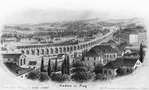 Il ponte Negrelli, a Karlín, in un'incisione del 1854 / Negrelli's bridge, in Karlín, in an etching dated 1854