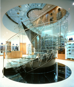 Eva Jiřičná's staircase at Joan & David Shoe Shop on New Bond Street in London © Kida