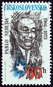 Un francobollo stampato in Cecoslovacchia per i settant'anni di Pablo Neruda / A stamp printed in Czechoslovakia in the 70th birth anniversary of Pablo Neruda