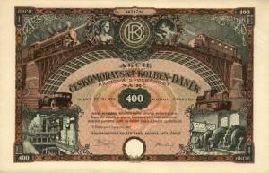 Azione della Českomoravská-Kolben-Daněk, emessa il 1° novembre 1927 / Share of the Českomoravská-Kolben-Daněk, issued on the 1st of November 1927 © Wikipedia