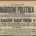 L'annuncio dell'arrivo di Hitler a Praga in un quotidiano del 1939 / A newspaper from 1939 announcing Hitler's arrival in Prague