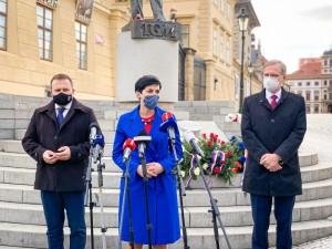 I leader della opposizione di centrodestra Petr Fiala (Ods), Markéta Pekarová Adamová (Top 09) e Marian Jurečka (Kdu-Čsl) / Centre-right opposition leaders Petr Fiala (Ods), Markéta Pekarová Adamová (Top 09) and Marian Jurečka (Kdu-Čsl) © TOP 09