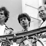 From left to right, Keith Richard, Mick Jagger and Václav Havel looking out from the balcony the day before the concert © Michal Doležal