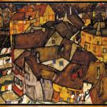Egon Schiele: La piccola città V, Gruppo di case a Krumau / The small town V, Crescent of houses in Krumau